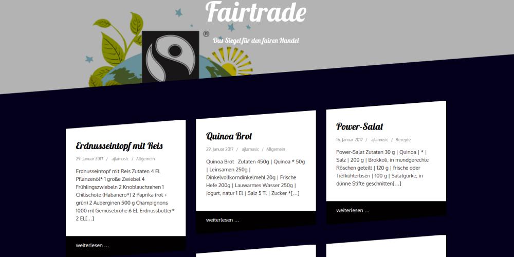 Erstellung von Webseiten zu FairTrade mit WordPress